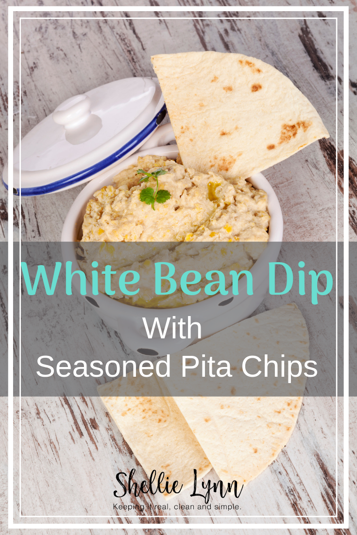 white bean dip with herbs and pita chips